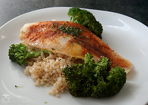 Baked swai over brown rice marine corps nomads for Baked fish and rice