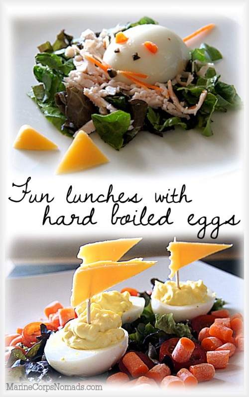 A variety of fun lunches featuring hard boiled eggs