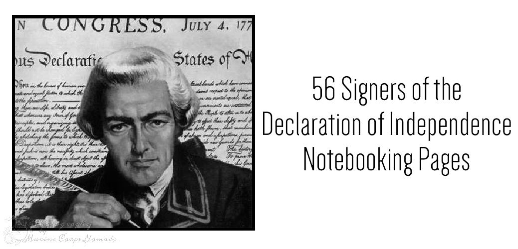 56 Signers of the Declaration of Independence Notebooking Pages