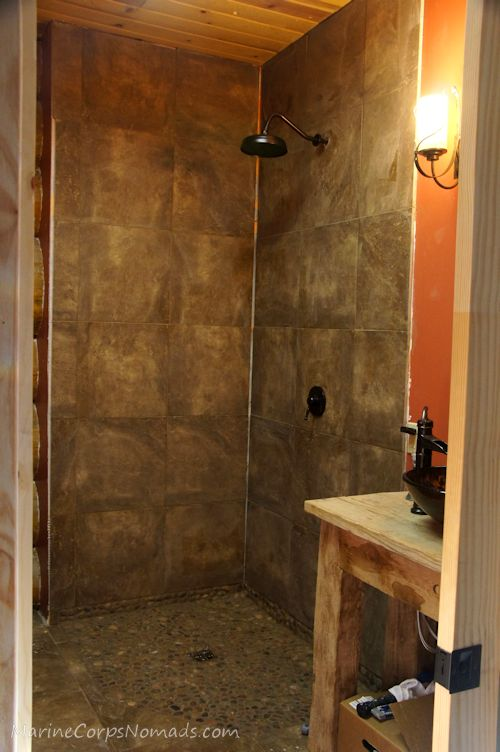 Cabin update shower marine corps nomads for Cabin shower tile ideas