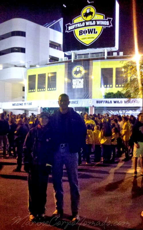 Munchkin and Daddy Outside Stadium