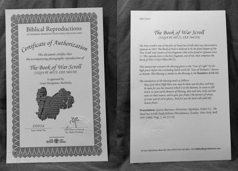 Book of War Scroll Certificate of Authorization