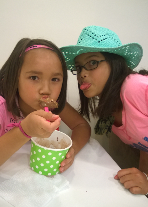 Malia and Rini with Frozen Yogurt