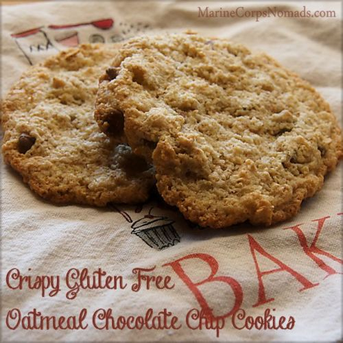 Crispy Gluten Free Oatmeal Chocolate Chip Cookies