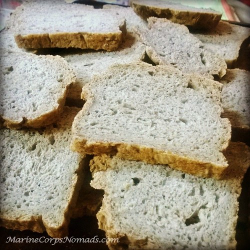 Drying out gluten free bread slices for stuffing.