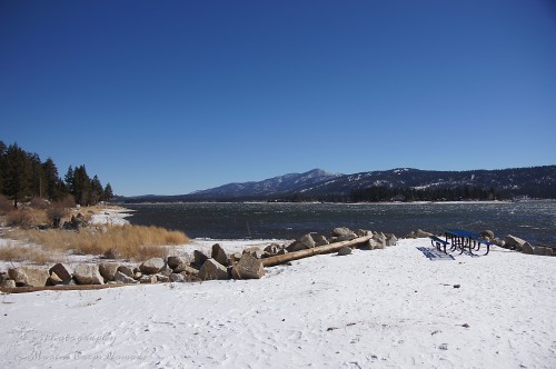 Exploring the snowy shores of Big Bear Lake