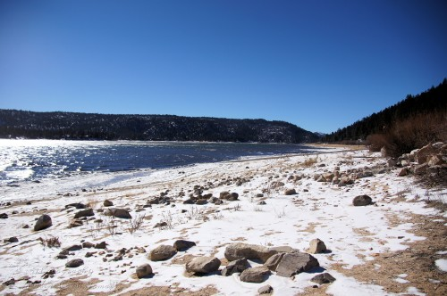 View of the snowy shores of Big Bear Lake