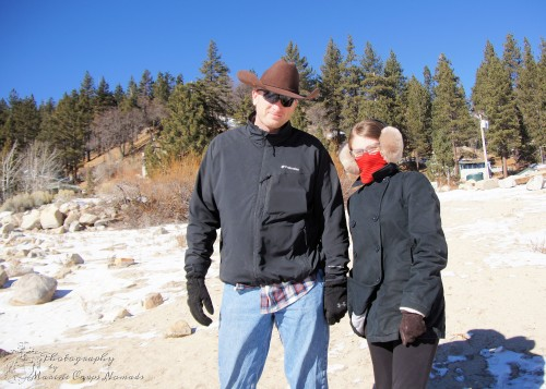 Munchkin and Daddy getting ready to check out the snow covered shores of Big Bear Lake