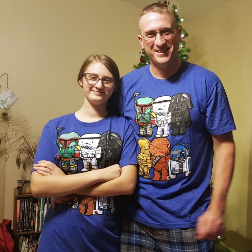 Christmas pjs featuring cute Star Wars characters