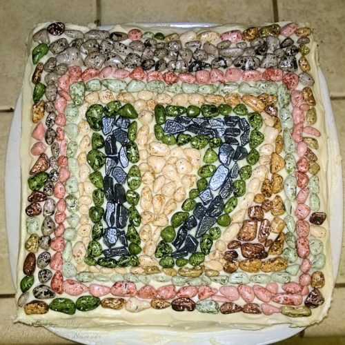 Mosaic 17th Birthday Cake - homemade and gluten free.