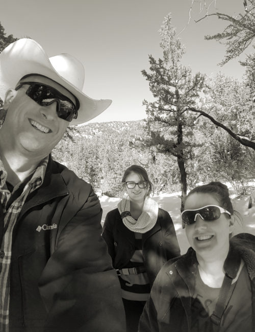 Family hiking trip in the snow at Big Bear