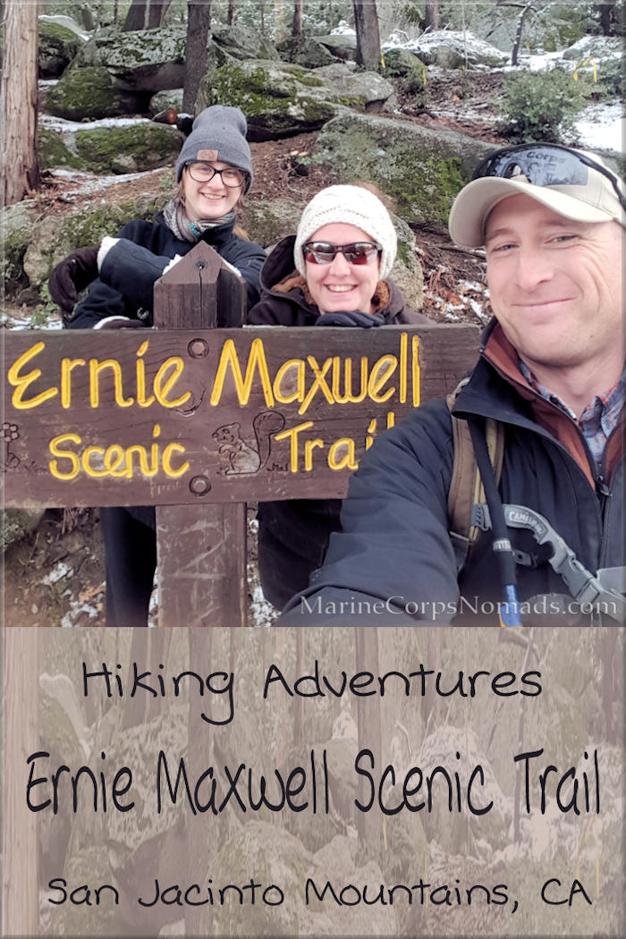 Ernie Maxwell Scenic Trail, San Jacinto Mountains, CA - snowy family hike, hiking as a family, national forest, winter hike
