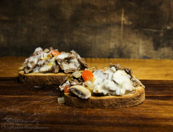 Open-faced gluten-free cheesesteaks recipe