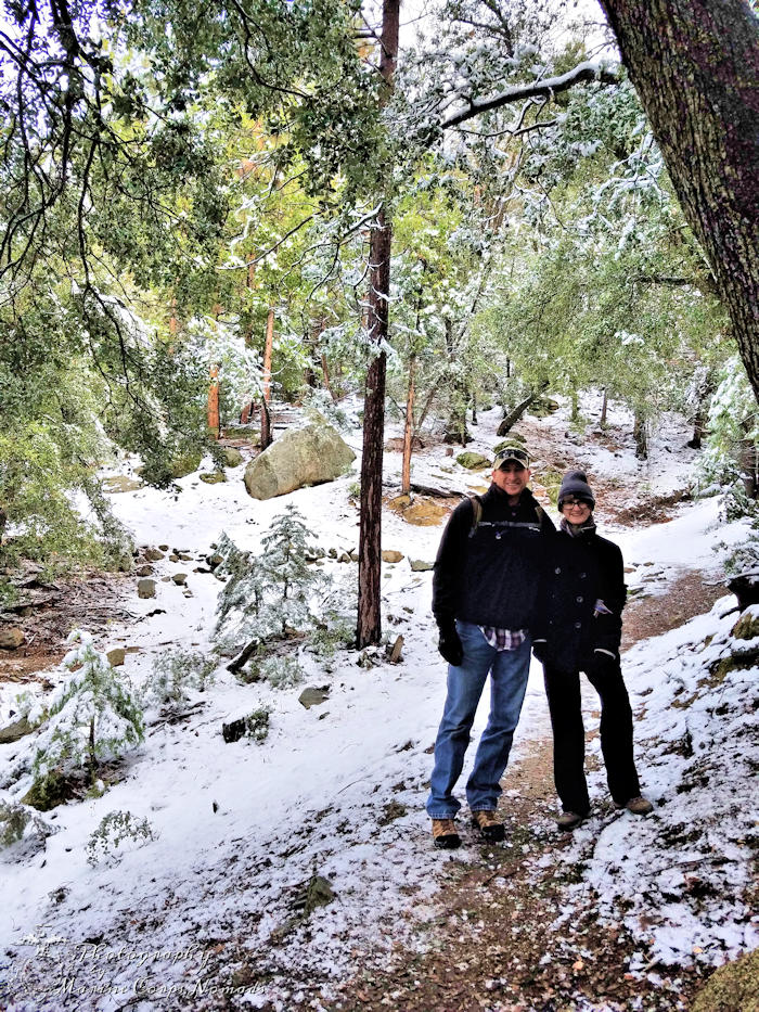 Ernie Maxwell Scenic Trail - daddy and daughter on a snowy hike