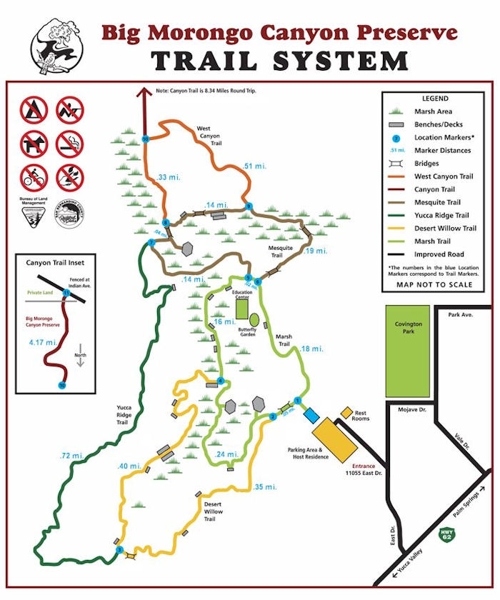 Big Morongo Canyon Preserve Trail System Map