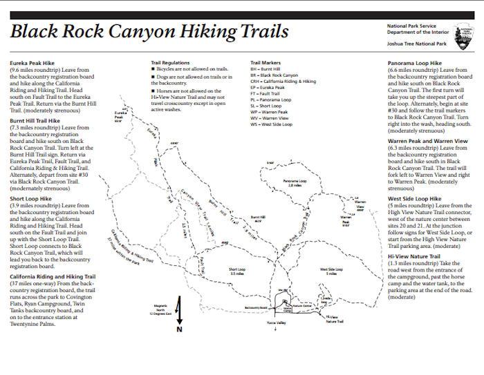 Black Rock Canyon Trail Map