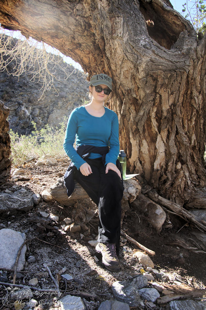 Relaxing by the tree before heading back down the Canyon Trail