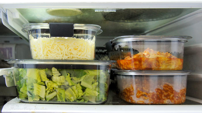 Utilizing Rubbermaid Brilliance container for leftovers makes meal prep a little easier.